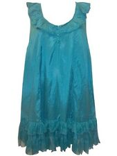 Womens Plus Size 22 24 Turquoise Green Crush Look Sleeveless Long Tunic Tops NWT