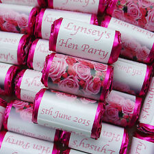PERSONALISED PINK ROSES LOVE HEART SWEET WEDDING HEN PARTY FAVOURS GIFT 25-100