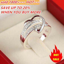 Newest 925 Silver Bling Gemstone Heart Love Women Wedding Ring Size 6 7 8 9 Gift