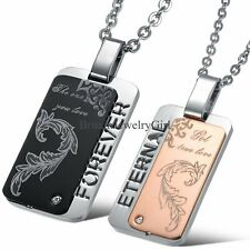 His and Hers Stainless Steel Forever Eternal Love DogTag Couple Pendant Necklace