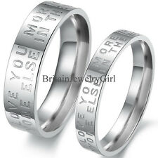 Love Letter Engraved Mens Ladies Couple Stainless Steel Engagement Ring Band