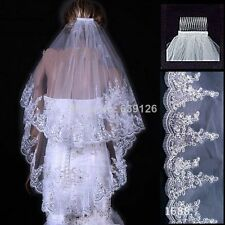 New 2 T White/Ivory Fingertip Lace Applique Edge Bridal Wedding Veil With Comb