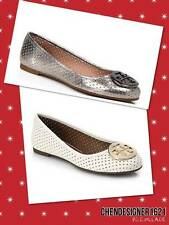 Tory Burch size 7.5,8 US Reva Perforated Ballet Flats Metallic Pewter,Ivory New