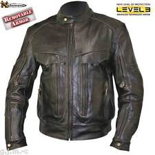 Xelement B7496 Mens Retro Brown Armored Leather Motorcycle Biker Jacket