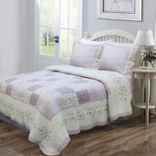 Soft & Pastel White Floral Lilac Patchwork Embroidered Cotton Quilt Set King