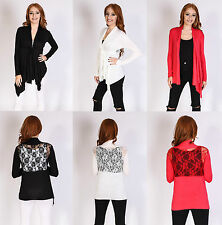 WOMEN LADIES FLORAL TIE LACE BACK WATERFALL LONG SLEEVE CARDIGAN TOP SIZE 8-14