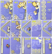 Bling Crystal Diamonds Pearl PU leather flip slots book wallet case cover skin 1