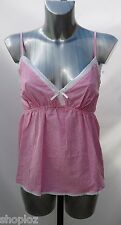 Ladies M&S Sizes 12 14 Pink White Check Pure Cotton Pyjama Camisole Top Bnwot