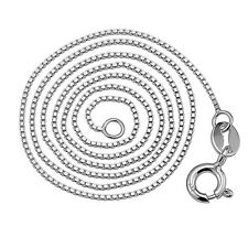 925 Sterling Silver Box Chain Necklace 36-91CM Long Jewelry Make White Gold Plat