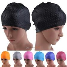 Fashion Durable Sporty Adult Silicone Swim Cap Long Hair Swimming Hat Earflap ##