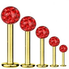 Labret Bar Tragus Piercing Gold Plated Titanium 1,6 mm, Multi Crystal Ball Red