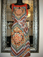 M & S SIZE 8 - 10 PER UNA COLLECTION PRINTED BELTED SATIN SHIFT DRESS RRP £59