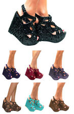 WOMENS CHUNKY HIGH HEEL PLATFORM STRAPPY WEDGES PEEP TOE SANDALS SHOES SIZE