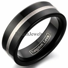 Men's Tungsten Carbide 8mm Silver Stripe Wedding Promise Band Ring Size 8-11