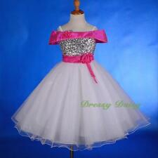 White Hot Pink Off-Shoulder  Sequins Party Dress Wedding Flower Girl Sz 2-7 #214