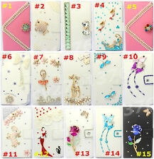 Bling Crystal Diamonds Pearl PU leather flip slots book wallet case cover skin 8