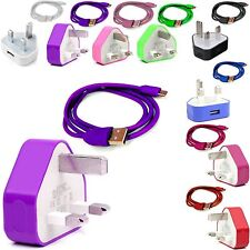 CE COLOUR PLUG MAINS USB CHARGER+DATA CABLE FOR VARIOUS MOBILE PHONES