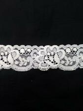 "Wholesale 2 / 10 / 50 yard white stretch double scalloped  lace trim 1 1/4"" S5-6"