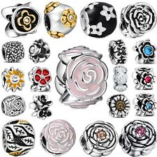 Brand Flowers Women Hot Silver Charms Bead Fit 3mm European Genuine 925 Bracelet