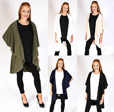 Womens Ladies Jacket Celeb Inspire Sleeveless Waterfall Cardigan Cape 8-16
