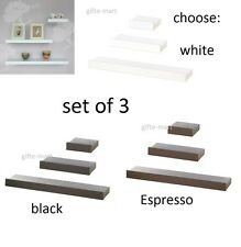 3 pc small MED & LARGE modern SET OF 3 size floating wood wall shelf with edge