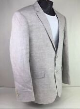 Johnathon Robert Platinum Tan Beige Khaki 2 Button Linen Suit Jacket Sport Coat
