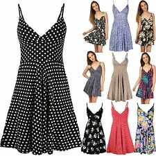 Womens Ladies Strappy V Neck Polka Dot Rockabilly Swing Skater Dress Plus Size