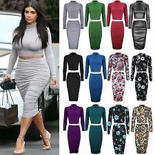 Womens Ladies Celeb Inspired Polo Neck Cropped Top Ruched Midi Skirt Co-Ord Set