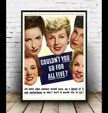 Could you go for all five ?, old smoking advert, Poster, Wall art, Reproduction