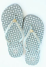 Authentic TORY BURCH THIN PRINTED FLIP FLOPS Sandals Grey Checks sz  8