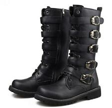 New MENS  Punk Rock BLACK GOTH PUNK ROCK BAND BUCKLE BOOTS Riding Cowboy boot