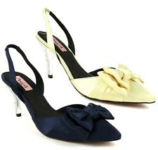 Blue Gold French Silk Pointy toe Pump High Heel Shoe with Bow and Rhinestones