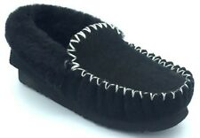 NEW Genuine Unisex AUSTRALIAN SHEEPSKIN Moccasins Slippers BLACK SIZES 4-12
