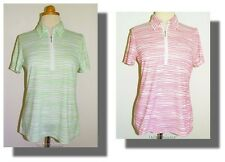 New Women's Cutter & Buck DryTec Pink/Wht or Green/Wht Striped SS Polo Shirt M