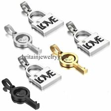 One Pair Love Lock and Key Pendant His and Hers Stainless Steel Necklace Set