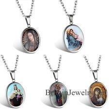 """Virgin Mary Our Lady Of Guadalupe Pendant Charm Stainless Steel Necklace 22"""""""