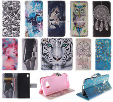 For Smart Phone Patterned Magnetic PU Leather Flip Card Wallet Cover Case Stand