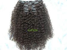 sufaya clip-in human hair extension kinky curly brazilian virgin hair dark brown