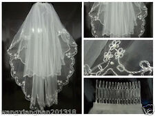 2015 Beautiful New White/Ivory 2T Beaded Edge Bridal wedding veil with comb