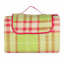 OCTAVE® Tartan Family Size Fleece Picnic Rug Blanket With Waterproof Backing