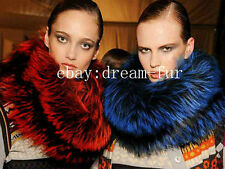 SALE ! Denmark Genuine Real Raccoon/Fox Pelt Fur Scarf/Cape/Wrap Dark-Red/Blue