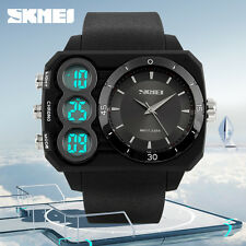 SKMEI Water Resistant 50M Dual Time LED Digital Analog Mens Women Wrist Watch