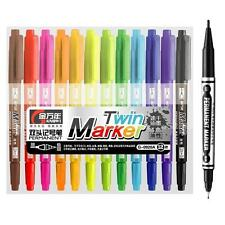 KNOW 12 Color Set Micron Ultra Fine Twin Tip Permanent Marker Waterproof 0920A