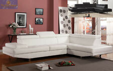 Contemporary Black or White Sofa Sectional Bonded Leather Elegant High End