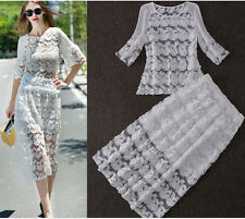 New Women Embroidered gauze Lace Cropped Top mid-longo Skirt Sets  2PCS Clubwear