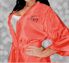 CORAL PERSONALISED SATIN WEDDING ROBE / ROBES/DRESSING GOWN - BRIDE BRIDAL PARTY
