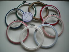 "4"" Round Flexi Hoop 8 COLOURS Red Blue Pink Wood Cross Stitch Embroidery Frame"