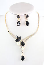 Fashion 18K Gold Plated Pearl Crystal Zircon Necklace Earring Wedding Jewelry
