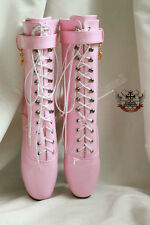 "18cm 7"" Ballet Pointe Shoe Fetish Shiny Patent Light Baby Pink Laceup Calf Boot"