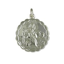 Silver Small Round Double Sided St Christopher Necklace